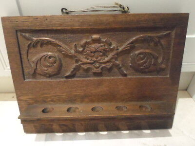 Vintage wooden carved oak panel of Green Man, made into a 5 pipe rack