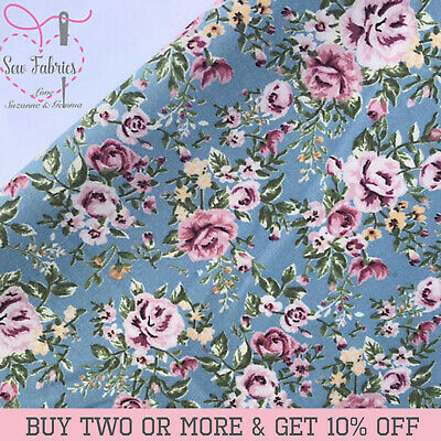100% Cotton Poplin Traditional Rose and Hubble Blue Floral Fabrics Flower