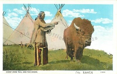 Ponca City, Oklahoma-Chief Iron Tail and Bison on Miller Bros 101 Ranch-Postcard