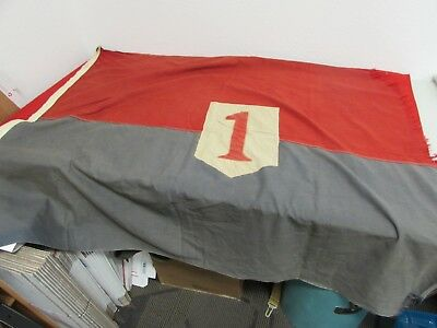 "WWII era US Army 1st infantry division flag with grommets size 42"" x 52""."