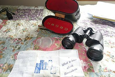 Vintage Crown Binoculars 10 X 50 W/original Case