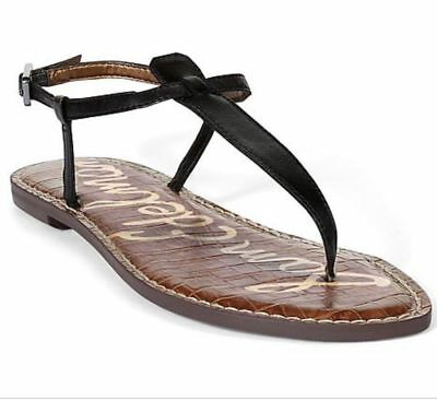 ad5915130efa58 SAM EDELMAN GIGI Thong Sandals Black Leather 7.5 US Flats Sandal ...