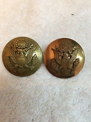 """2 VTG BRASS EAGLE MILITARY US ARMY WWll HAT BADGE PINS 1 5/8"""""""