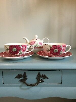 Stunning Laura Ashley Tea For Two Set. Brand New X2 Cups X2 Saucers & Teapot