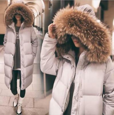 New Womens Duck Down Coat Knee Lenght Real Fur Hooded Thicken Parka Jacket 2019