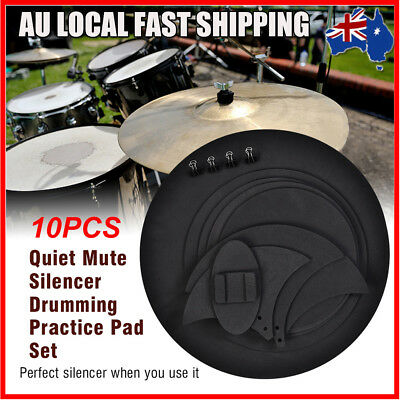 10pcs Mute Silencer Drumming Rubber Practice Pad Bass Drums Sound off/ Quiet Set