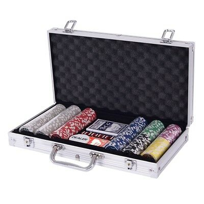300 Chips Poker Chip Set Texas Holdem Cards w/ Silver Aluminum Case Gamble US