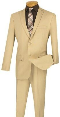 Men's Suit Slim Fit Single Breasted 2 Buttons Solid Beige S-2PP