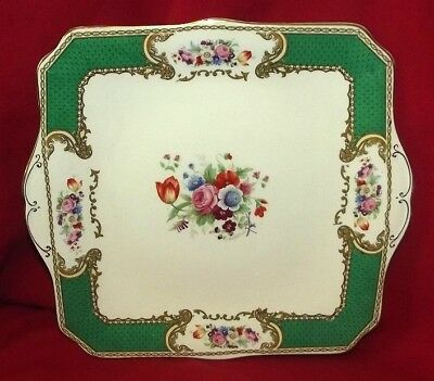Antique Myott Bouquet Royal Crown Staffordshire Square Handle Cake Plate