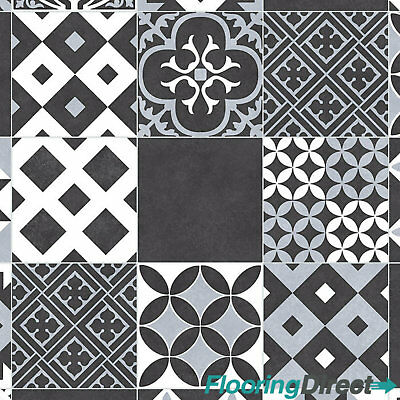 Victorian Black Tile Design Vinyl Flooring Non Slip Lino Bathroom Kitchen Roll
