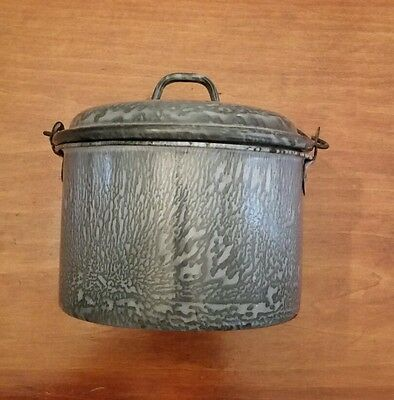 Antique 19th C Graniteware, Enamelware Grey Berry Pail, Lunch Pail, BEER PAIL