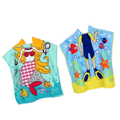 2pcs Kids Hooded Soft Changing Robe Beach Swim Poncho Blue Diver Mermaid On