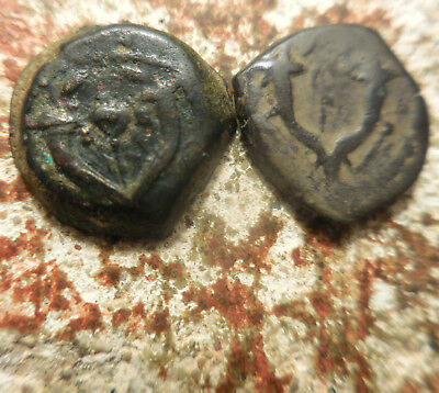 VF+! Lot of 2 Ancient Coins of the Jewish Priest Kings! Maccabee! Proto Hebrew!