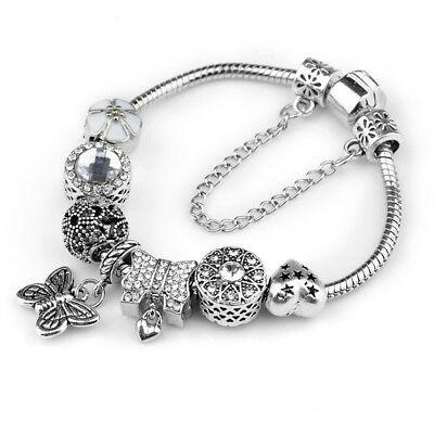 Women's European Crystal Charm Bracelet With Vingate Butterfly Beads Gifts