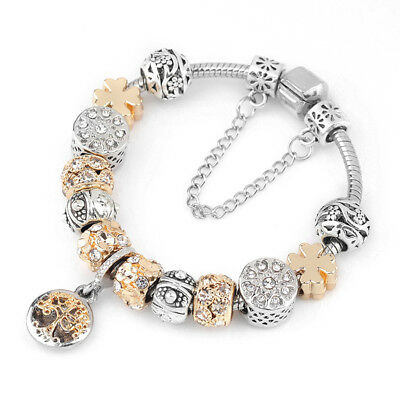 Women's European Crystal Charm Bracelet With Tree Of Life Pendant Gifts Jewelry