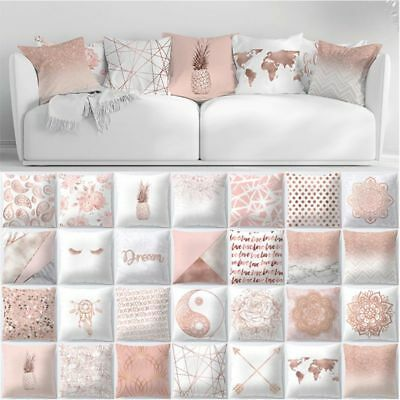 Rose Gold Pillow Case Geometric Pineapple Glitter Cushion Cover One Side Printed