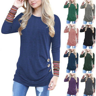 Women Ladies Blouse Shirt Tops Long Sleeve Loose Jumper Pullover Tunic T-Shirt I