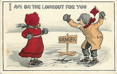"""""""I Am on The Lookout for You""""~Old Couple on Ice Skates~Danger~Red Flag~Sunbonnet"""
