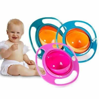 Infant Baby Kid Feeding Bowl Baby Universal 360 Rotate Gyro Spill-Proof Bowl US