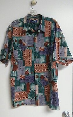 db92e9249 Ono by Liberty House L Cotton Lawn Button-Front Multicolor Abstract Aloha  Shirt