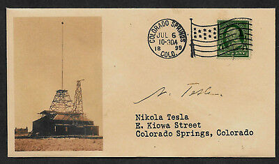 Nikola Tesla collector envelope w original period stamp 110 years old *OP1194