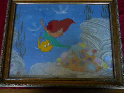 "ARIEL/FLOUNDER FROM LITTLE MERMAID-HAND PAINTED CEL FRAMED 1990's  17"" x 11"""
