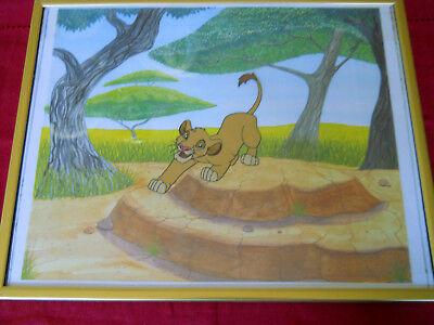 "SIMBA FROM THE LION KING-HAND PAINTED CEL FRAMED 1990's  13"" x 11"""