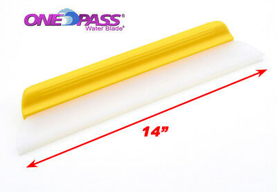 """One Pass Waterblade Silicone Squeegee Y-Bar 14"""" Yellow. for Home  Auto RV Fleet"""