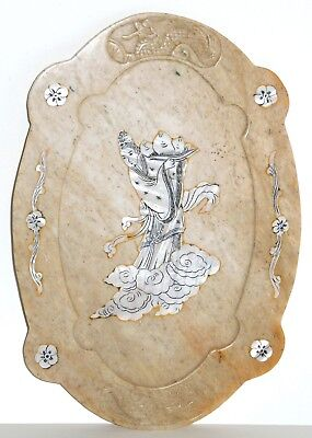 Qing China Chinese Immortal Lan Caihe Hand Carved Dragons Marble Inlaid MOP Tray