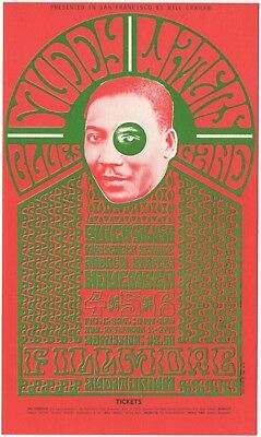 Original Mint 1966 Muddy Waters Quicksilver Messenger Service Fillmore Card Bg35
