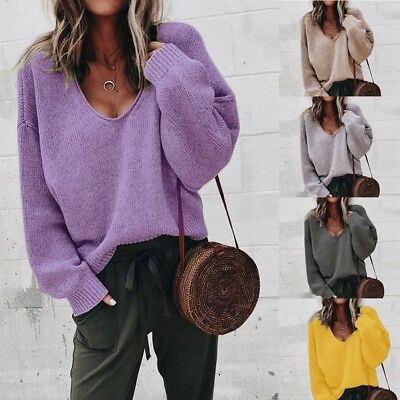 Women V-neck Long Sleeve Sweater Baggy Loose Knitwear Knitted Jumper Tops Blouse