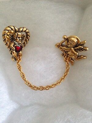 AVON Vintage Heart Cupid Brooch Pin Scatter Pins Tie Tac w/ Chain