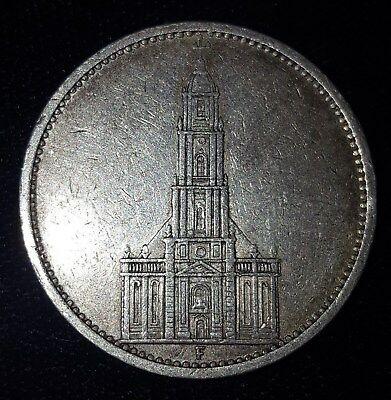 1934-F, 5 Reichsmark from Nazi Germany.  No Reserve!!