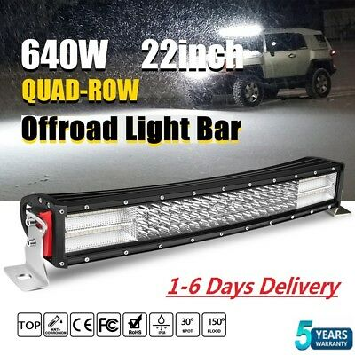 22inch 640W LED Curved WORK LIGHT BAR SUV ATV BOAT DRIVING LAMP OFFROAD TRUCK