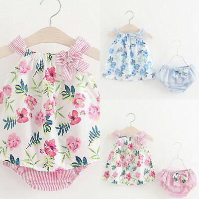 2PCS Outfits Newborn Toddler Kids Baby Girl Floral Bow Dress Tops+Shorts Pants