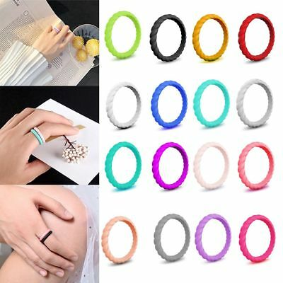 Breaded Silicone wedding ring Thin Stackable Rubber Band Curly Women