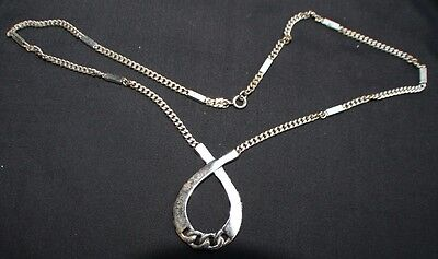 Vintage Signed TRIFARI Crown Silvertone Necklace with Pendant