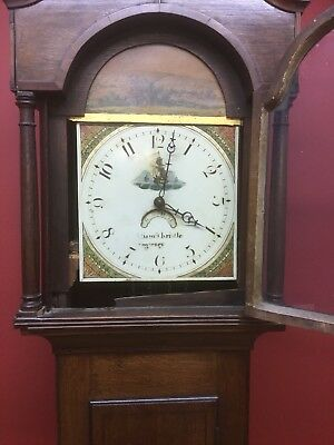 Antique Oak Long Case Grandfather Clock William Thristle Stogursey Somerset