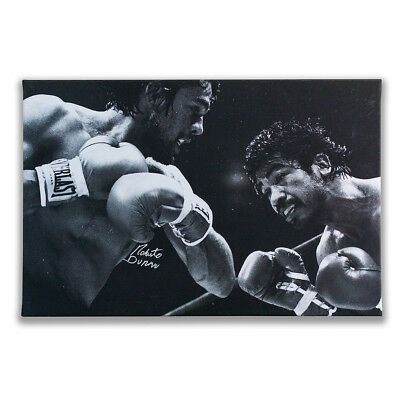 Roberto Duran Autographed Boxing Canvas Hand Signed in a Private Signing 74x48cm