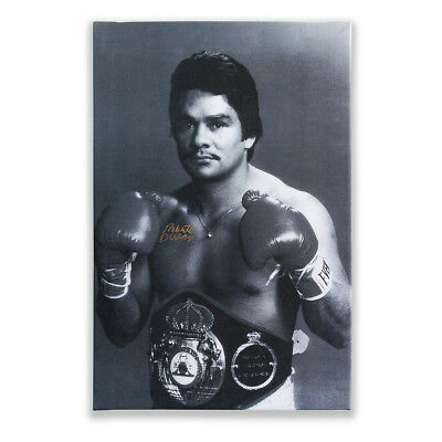 Roberto Duran Boxing Canvas Hand Signed Autograph During Private Signing 48x74cm