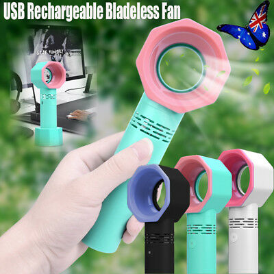 3 Speed Mini Portable Handheld USB Rechargeable Bladeless Fan Air Cooler Device