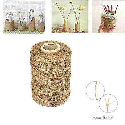 3Ply 100m Natural Brown Soft Jute Rope Twine Sisal String For Art Gift Bottle RN