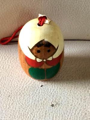 Kokeshi mini with bell Japanese traditional craft cute popular vintage F / S!