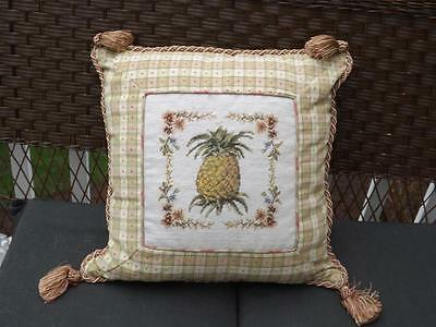 "Pineapple Needlepoint Decorative Toss Pillow Cushion 17x16"" Gold Tassels & Trim"