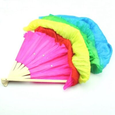 2X(Hand Made Colorful Belly Dance Dancing Silk Bamboo Long Fans Veils For F D4Y6