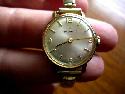 Vintage Watch Swiss Made Ladies Helvetia Plated wind up Dia 23 mm Working Used