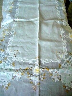 Vintage Large Hand Embroidered Sheer White Table Cloth & 12 Matching Napkins