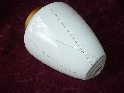 VINTAGE MID CENTURY RETRO WHITE ETCHED GLASS LIGHT SHADE & GALLERY - 15cm dia.
