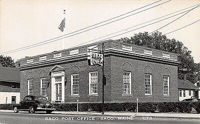 Saco Me Post Office through from Saco Hotel Cppr Postcard