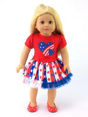 "Red White Blue Heart Dress Fits 18"" American Girl Doll Clothes"